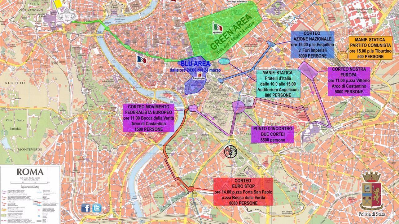Trattati di Roma, il piano di sicurezza per il 25 marzo