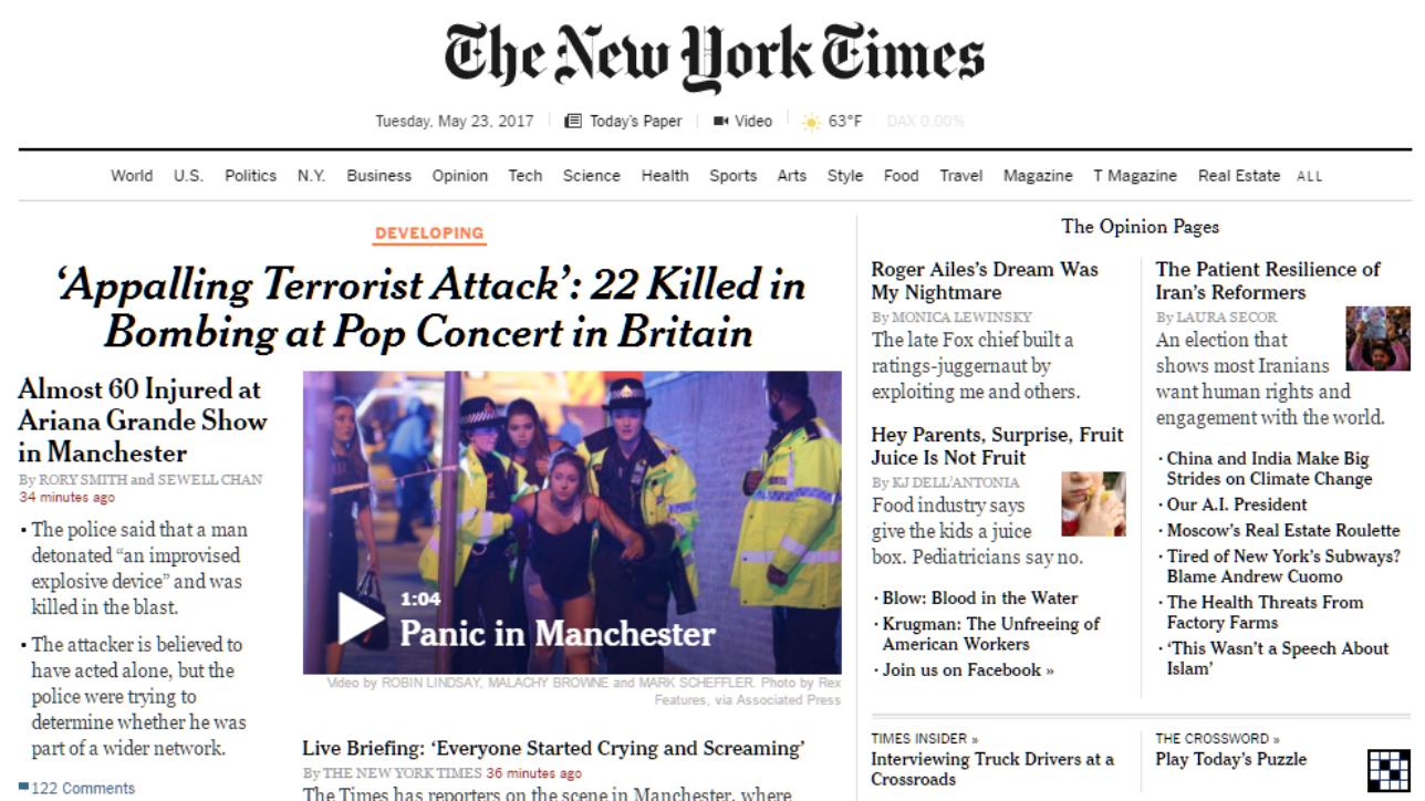 L'attentato a Manchester sui giornali di tutto il mondo