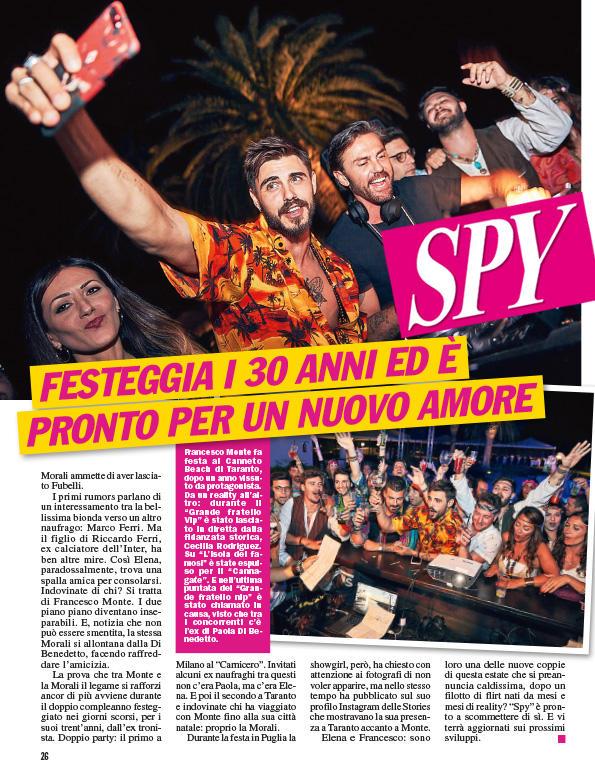 Francesco Monte, festa di compleanno con nuova fiamma: Elena Morali