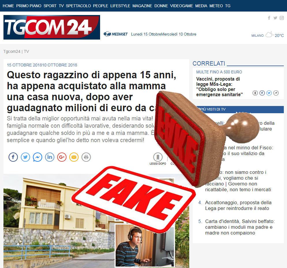 Online un sito che copia Tgcom24 per fare pubblicità ai bitcoin