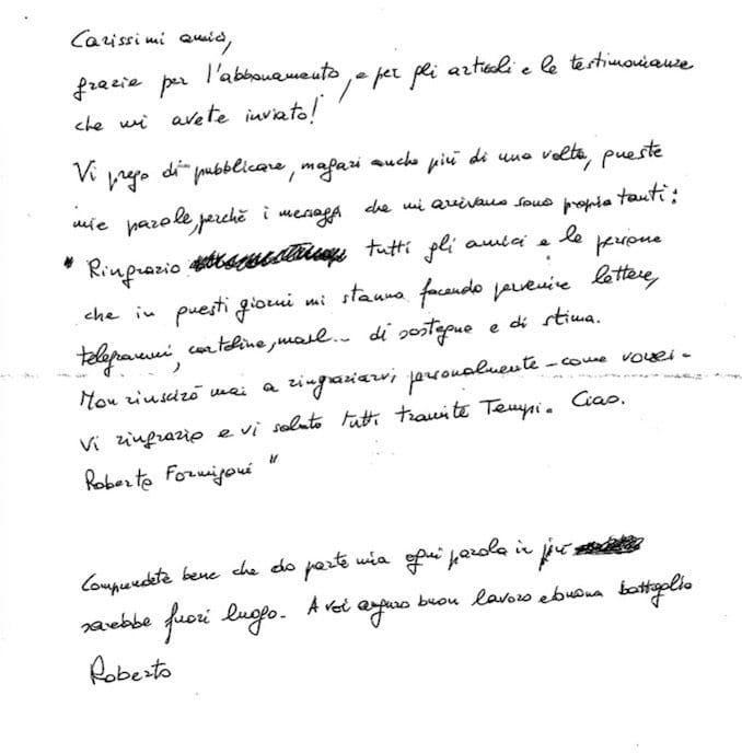 Formigoni dal carcere, la lettera inviata a  Tempi