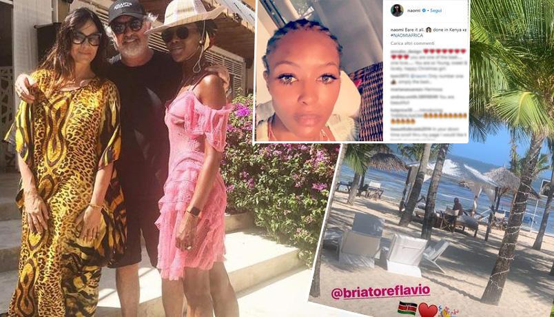 Naomi Campbell toglie la parrucca e vola a Malindi da Flavio Briatore