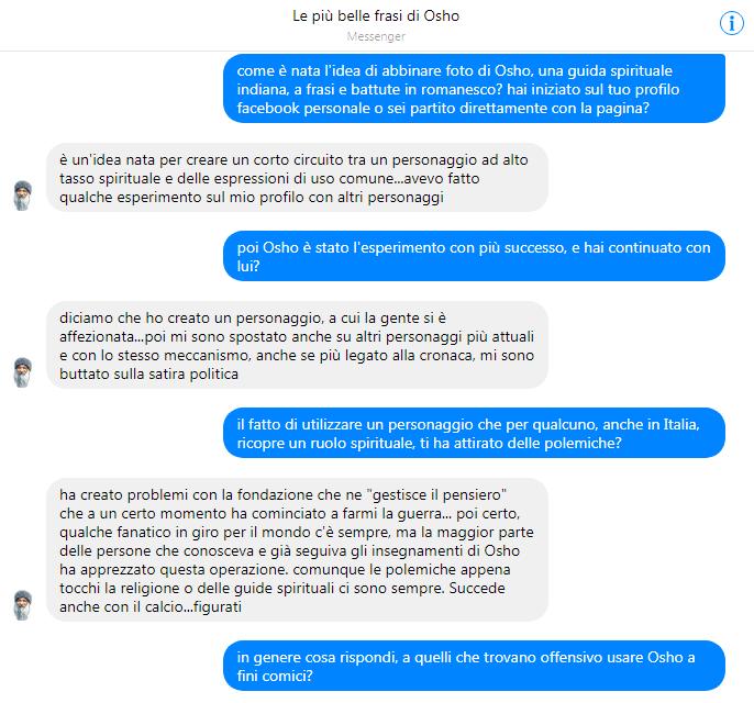 Facekult, l intervista al creatore di  Le più belle frasi di Osho