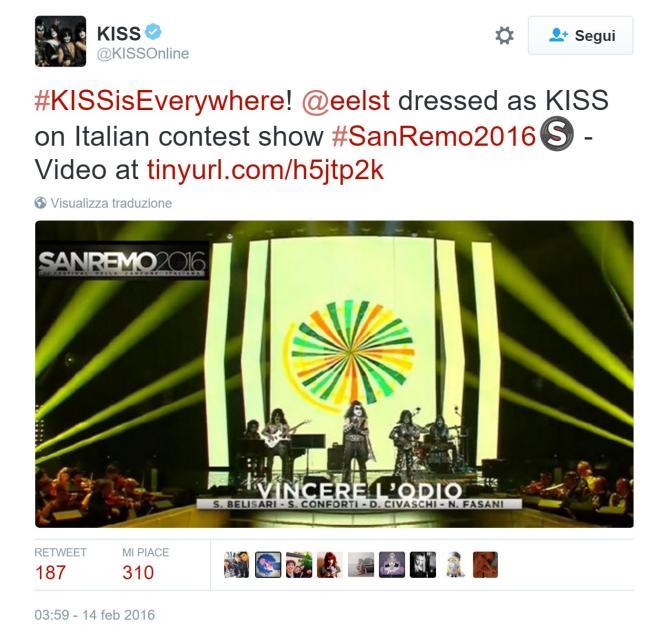 Festival di Sanremo 2016, i Kiss originali twittano Elio e le storie tese