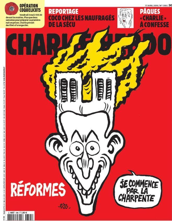 Notre-Dame, la copertina di Charlie Hebdo: incendio sulla testa di Macron