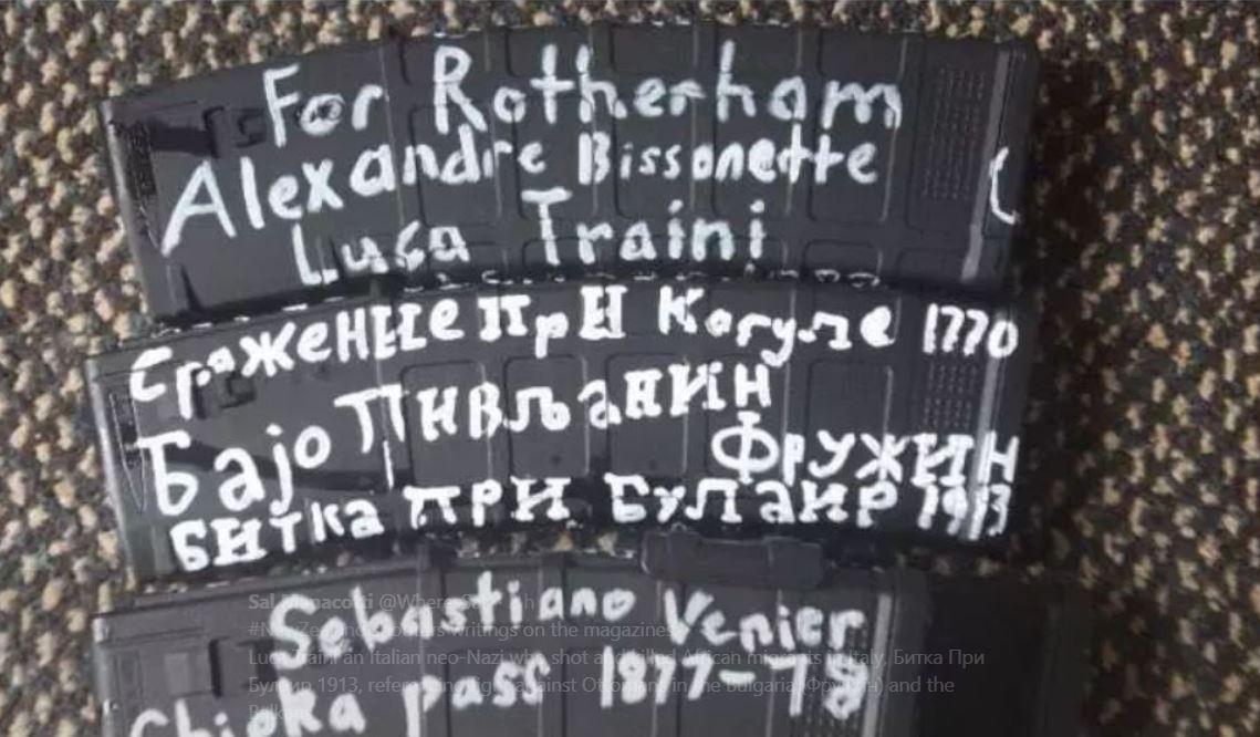 Strage in moschee in Nuova Zelanda, sulle armi il nome di Luca Traini