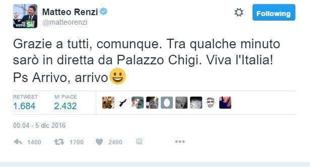 La parabola di Renzi:  Arrivo, arrivo  come nel 2014