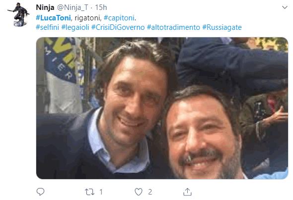 Luca Toni si schiera politicamente e parte l ironia sui social