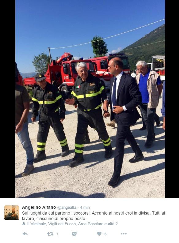 Il ministro Alfano sui luoghi del sisma