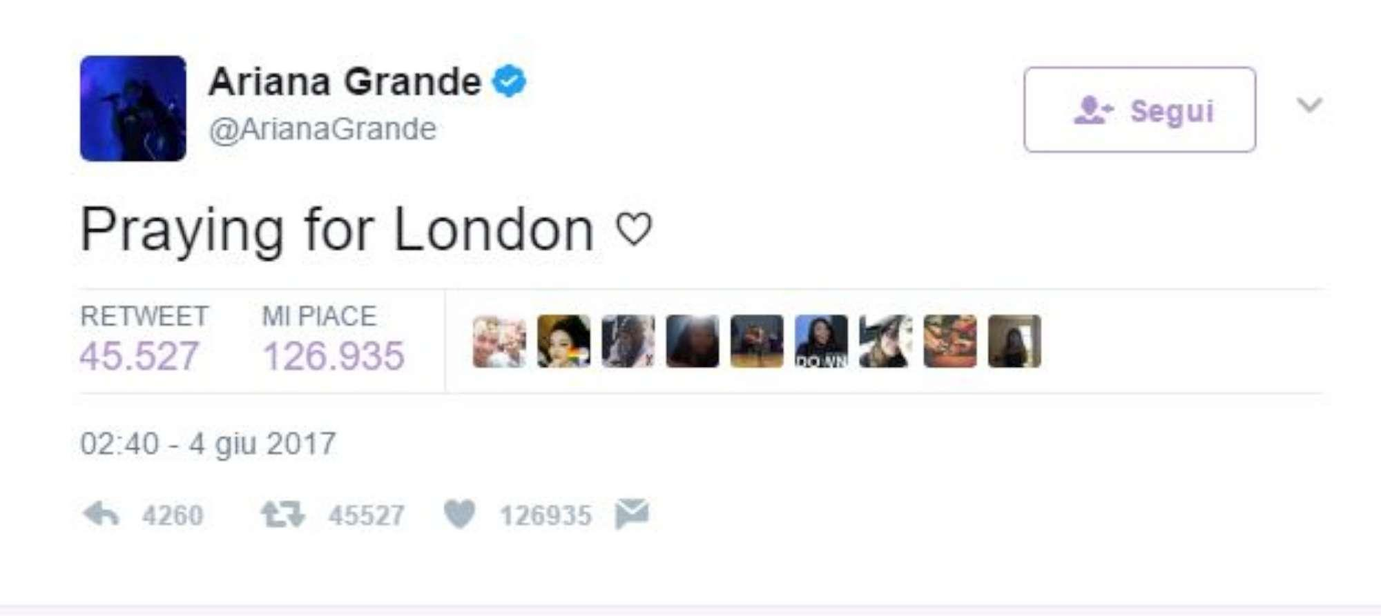 Attacchi a Londra, Ariana Grande da Manchester:  Prego per voi