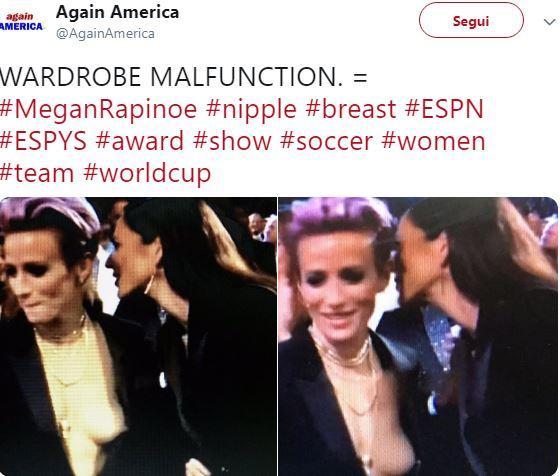 Fuori programma sexy per Megan Rapinoe: tetta scoperta in diretta tv
