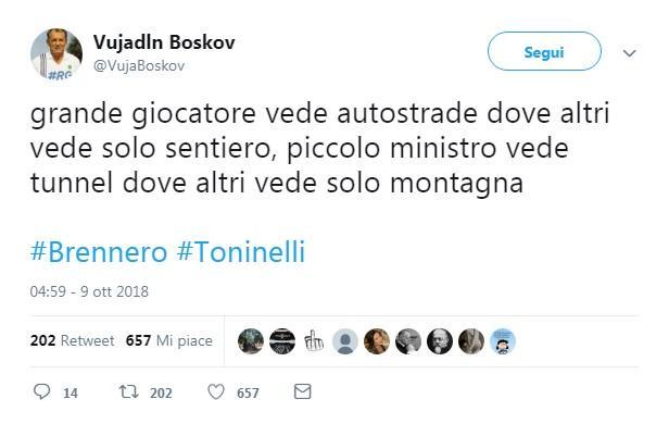 Toninelli e la gaffe sul tunnel del Brennero: sul web scoppia l ironia