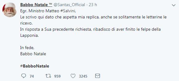 Le Lettere Di Babbo Natale.Salvini Aspetta La Lettera Di Babbo Natale Il Web Si Scatena Foto