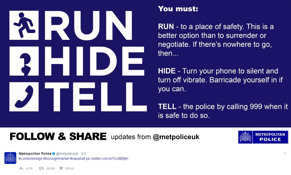 Londra, il tweet della polizia:  Scappate e nascondetevi