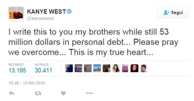 Kanye West su Twitter:  Ho un debito da 53 milioni di dollari