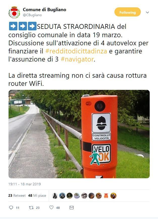 Bugliano, il falso comune toscano impazza su Twitter