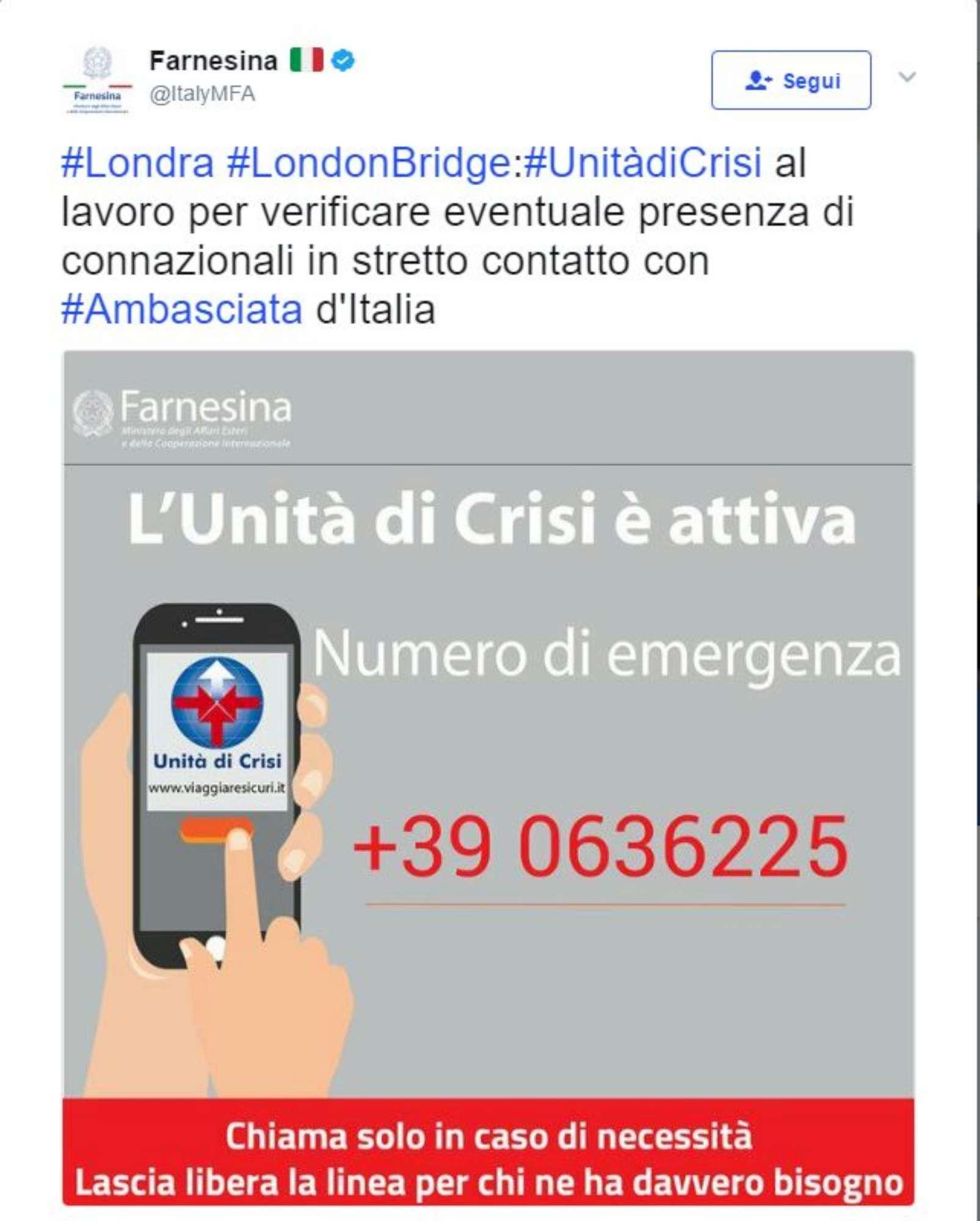 Attacco a Londra,attiva l Unità di crisi della Farnesina: ecco il numero di emergenza