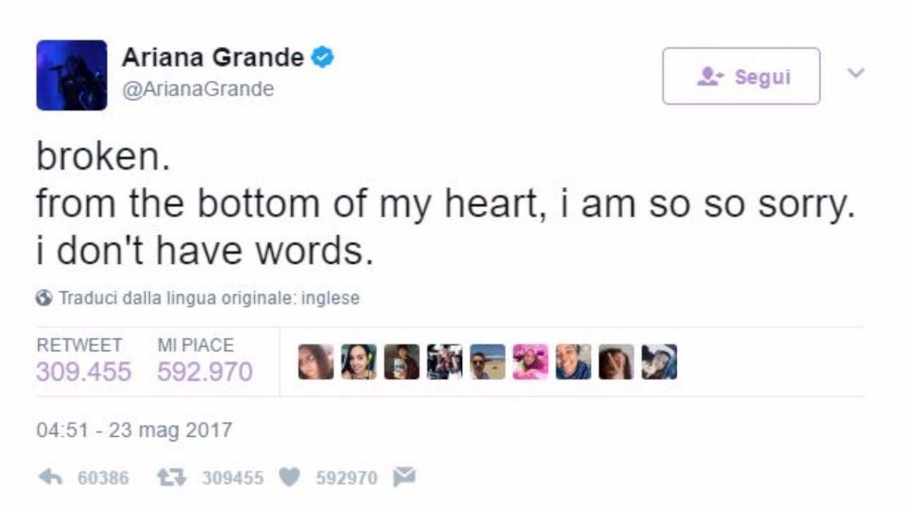 Attacco a Manchester, il cordoglio di Ariana Grande: