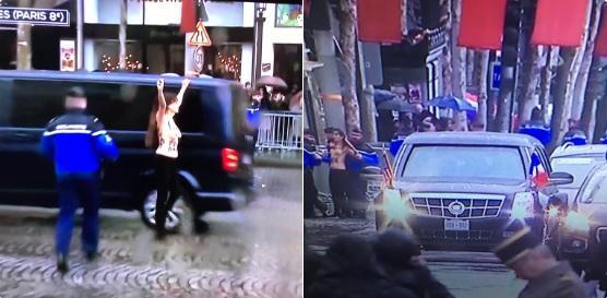 Cerimonia Grande Guerra a Parigi, Femen all attacco di Trump