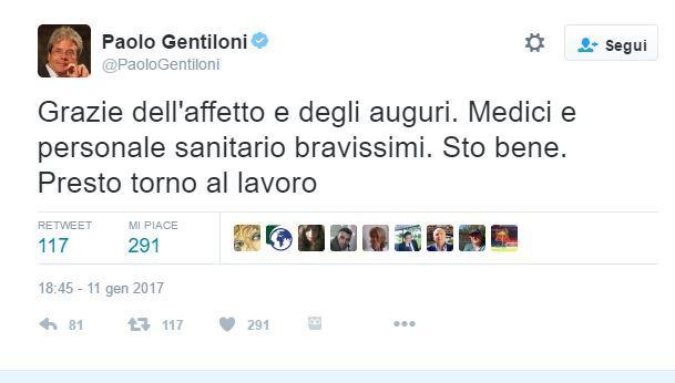 Gentiloni twitta dal Gemelli: sto bene