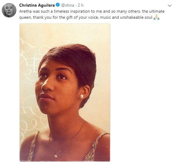 Aretha Franklin, il cordoglio via Twitter di cantanti e vip