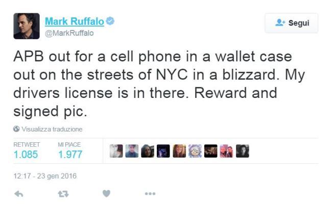 Mark Ruffalo perde il cellulare: ritrovato grazie a Twitter in tempo record