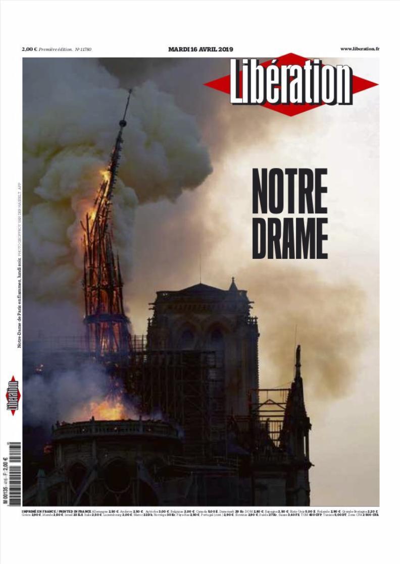 Incendio di Notre-Dame, la notizia sulla stampa di tutto il mondo