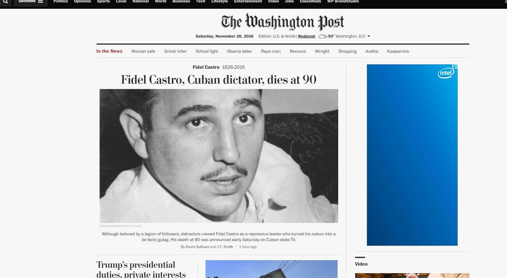 La notizia della morte di Fidel Castro fa il giro del mondo