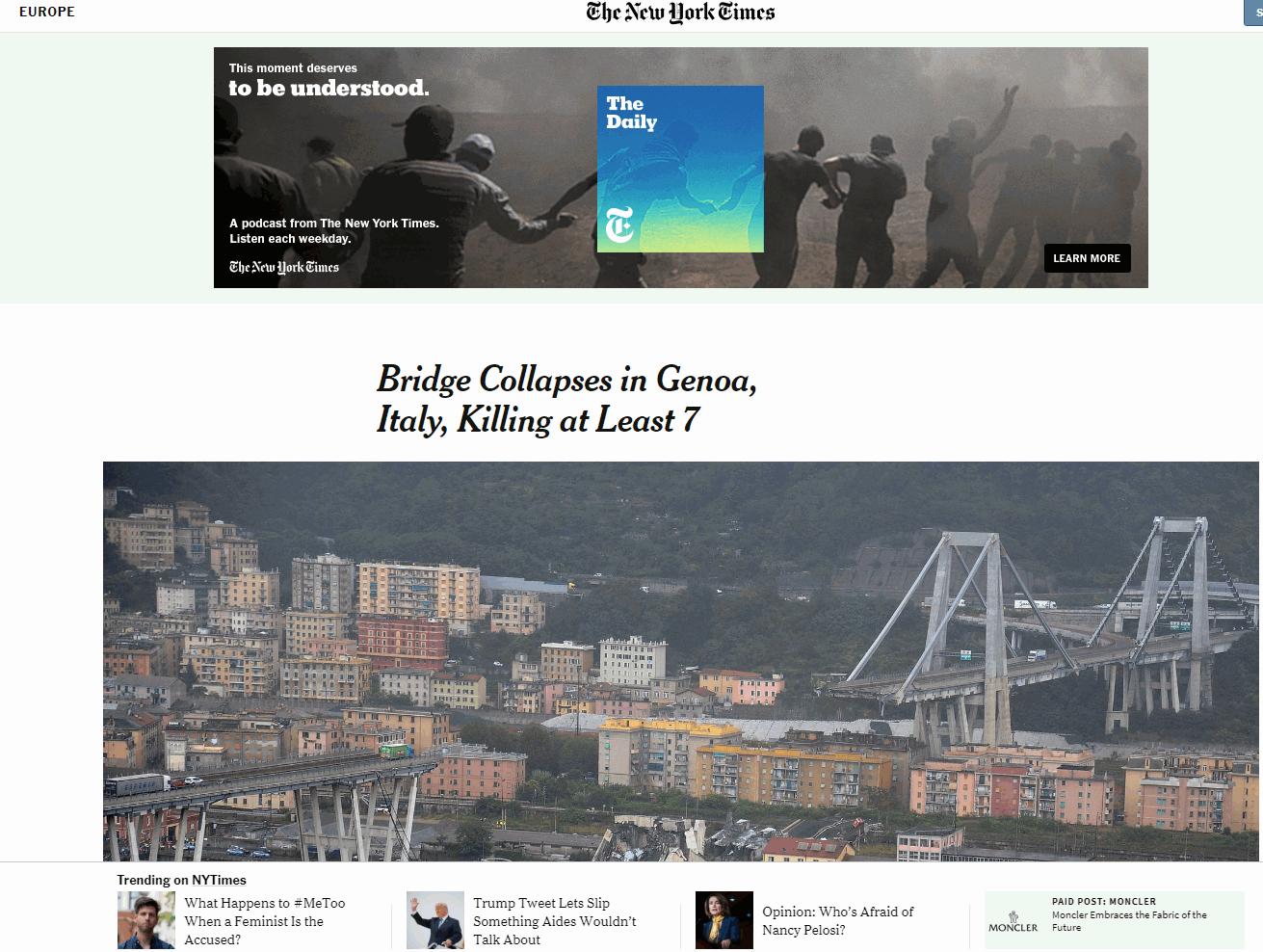 Genova, crolla ponte: la notizia sui siti stranieri