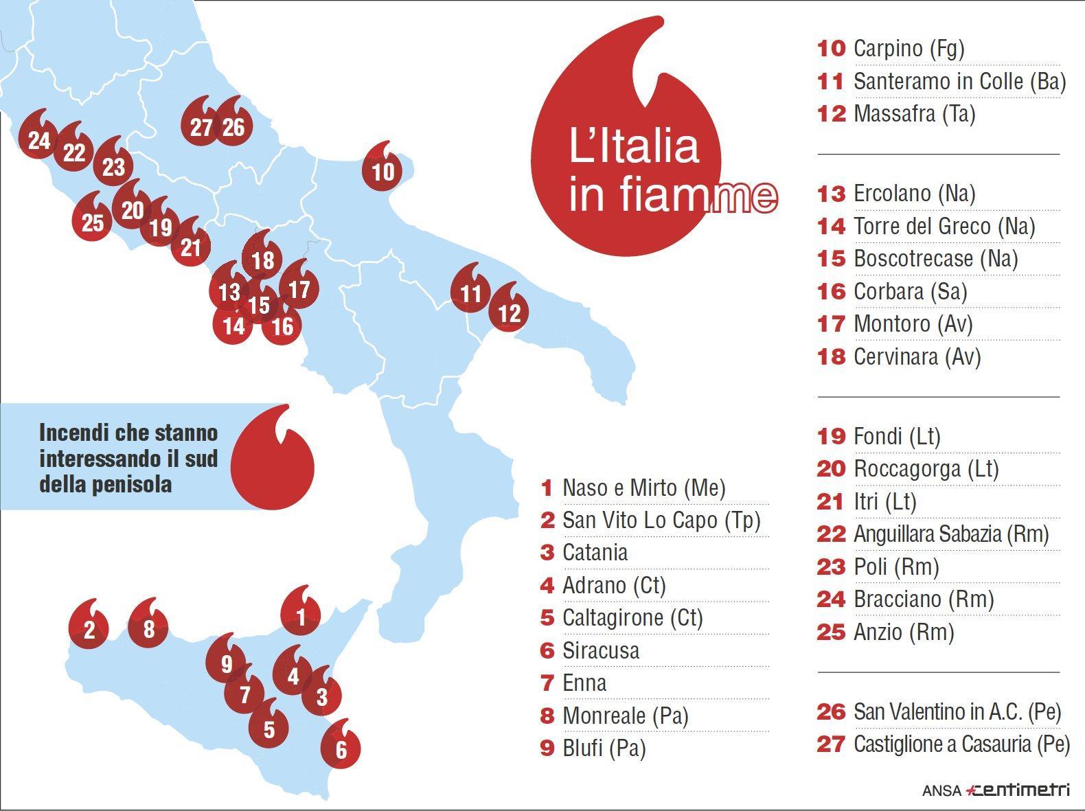 La mappa degli incendi nel Sud Italia