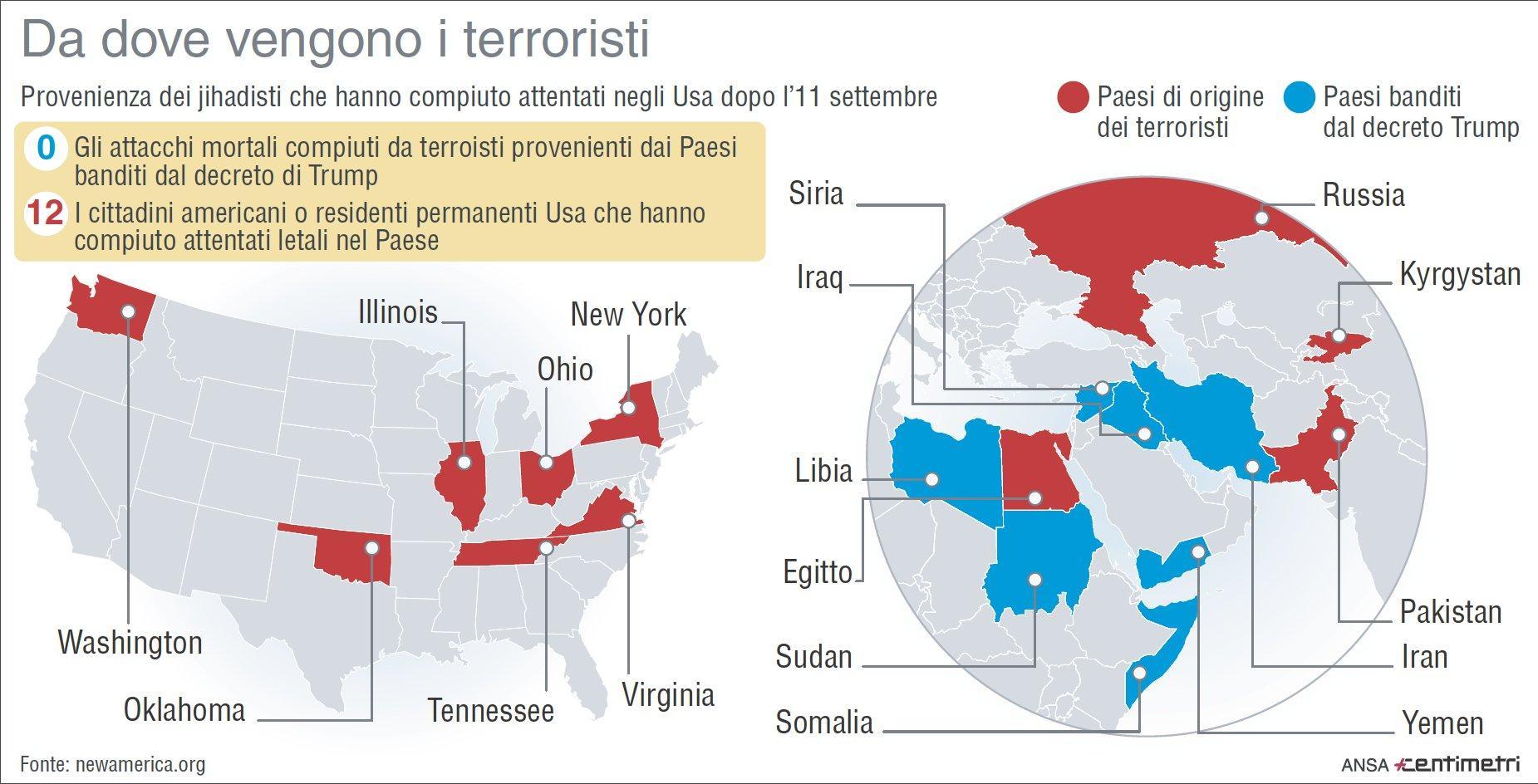 Attentati negli Usa, ecco da dove provengono i terroristi