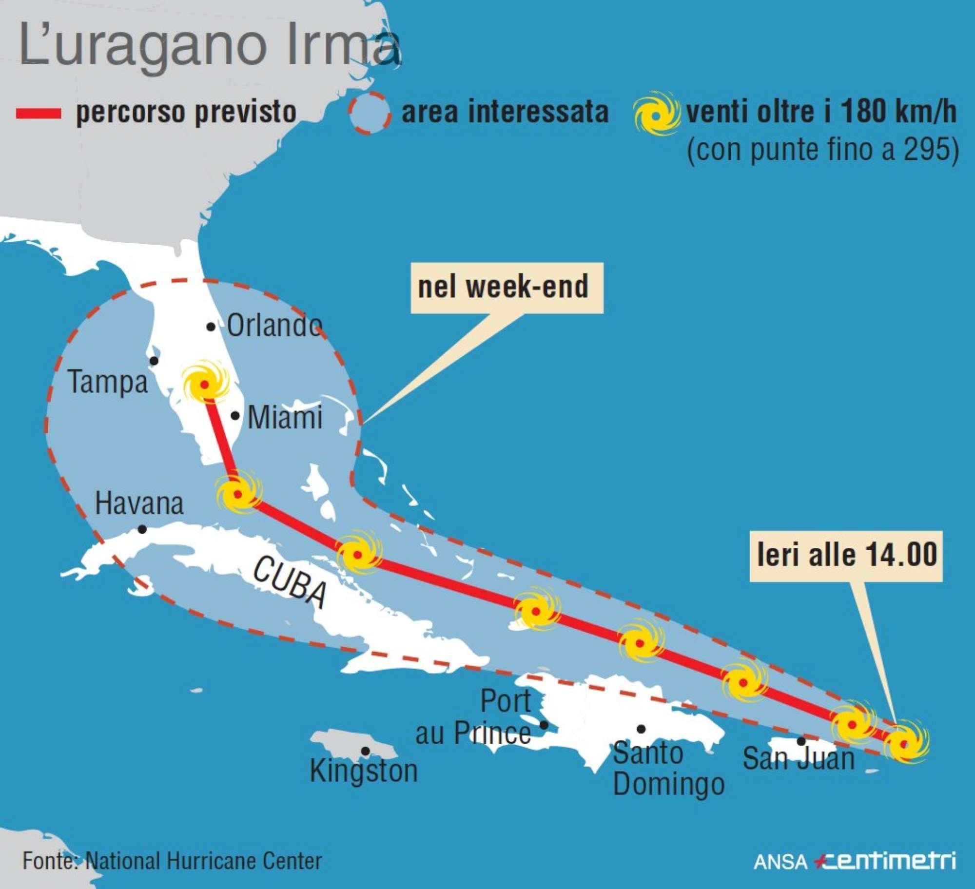 Irma, il percorso dell uragano che spaventa gli Stati Uniti