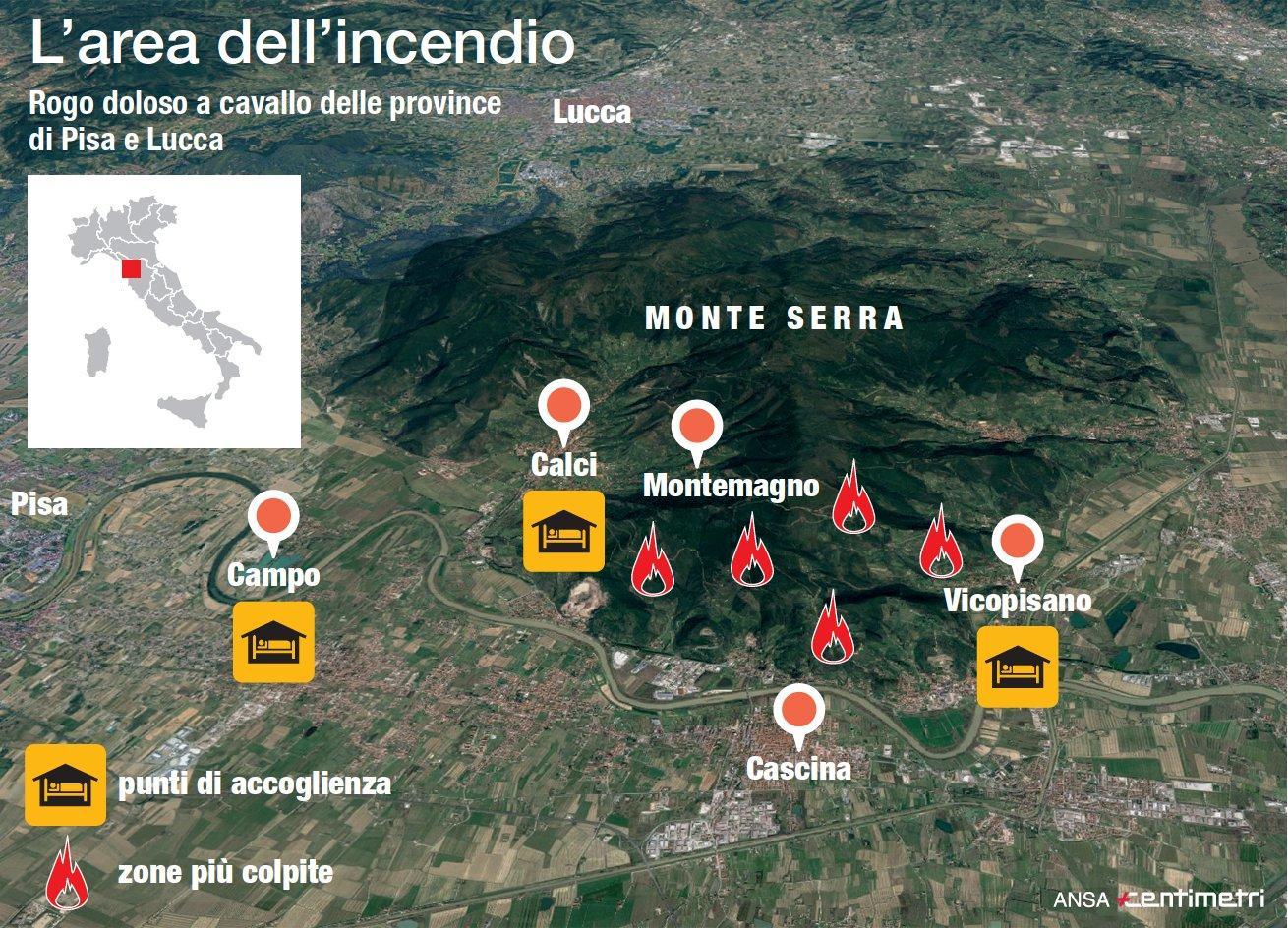 Incendi nel Pisano, le zone che bruciano