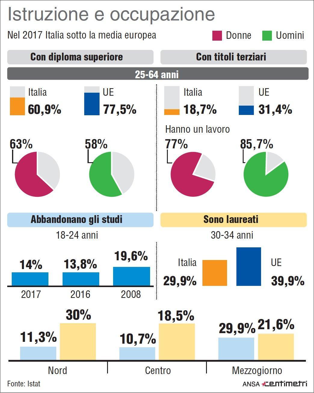 Istruzione, i dati Istat