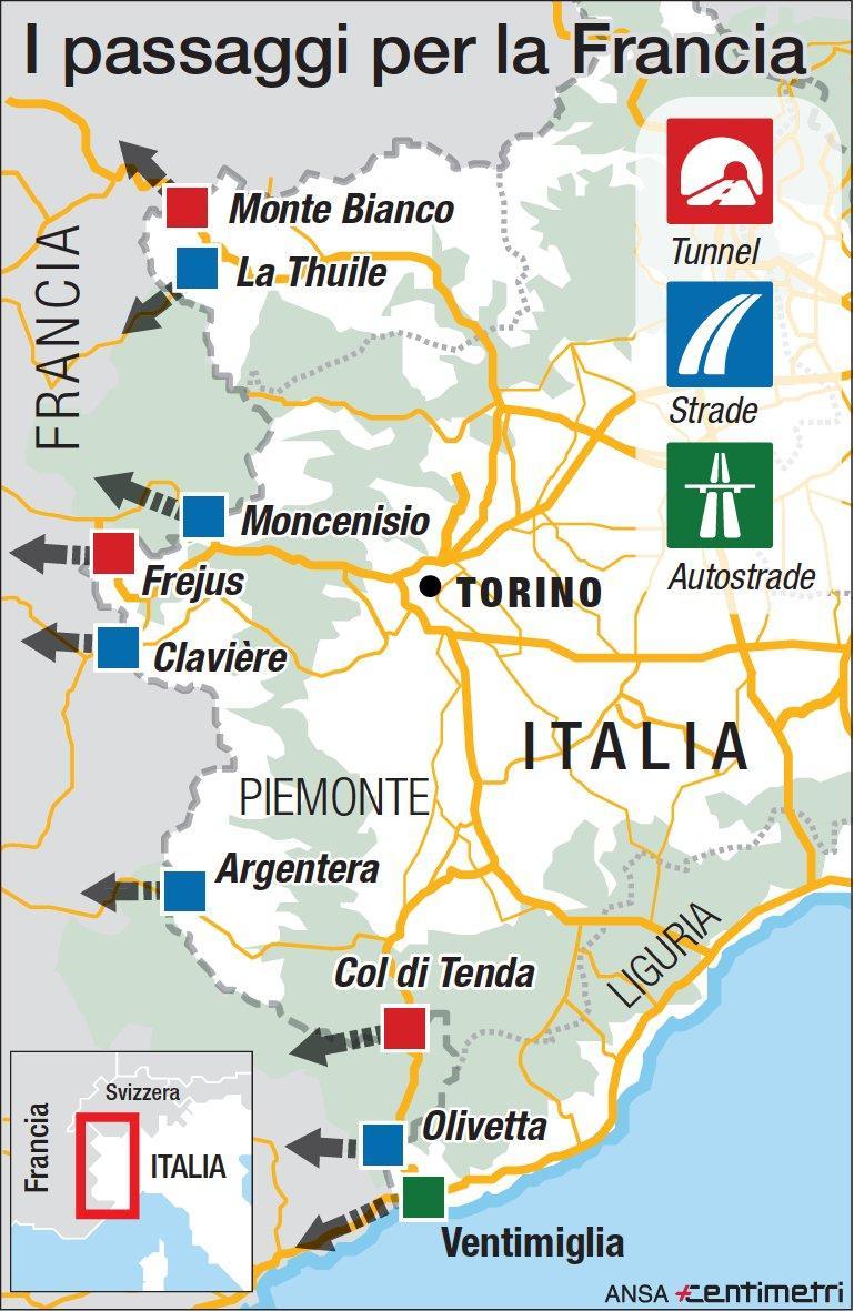 Migranti, i punti di frontiera tra Italia e Francia
