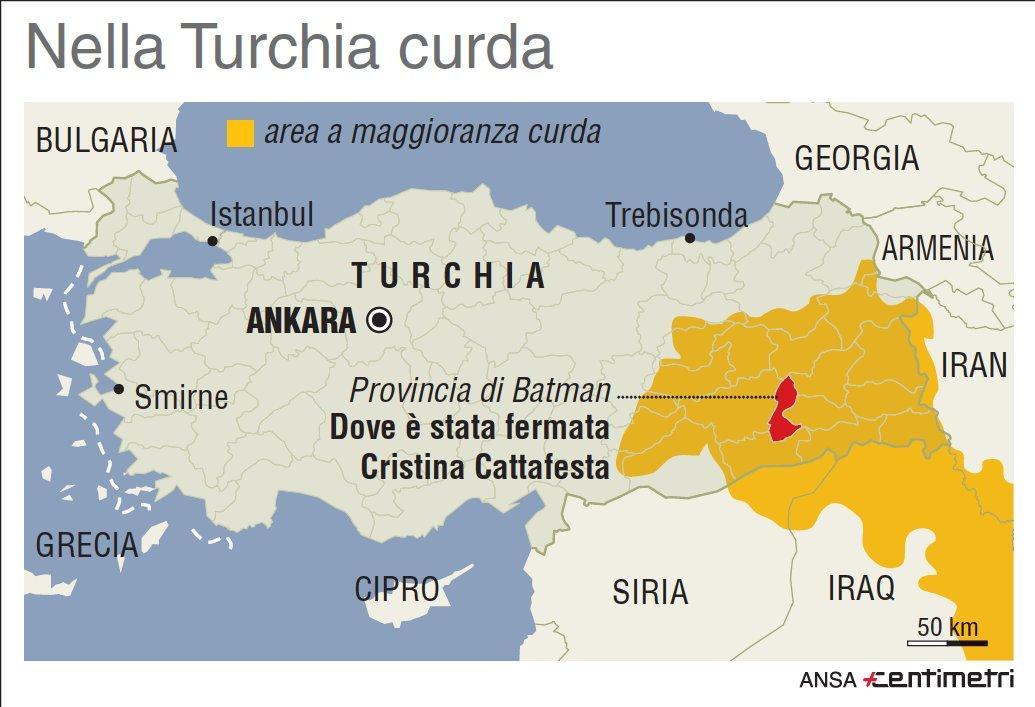 Italiana fermata nella Turchia curda