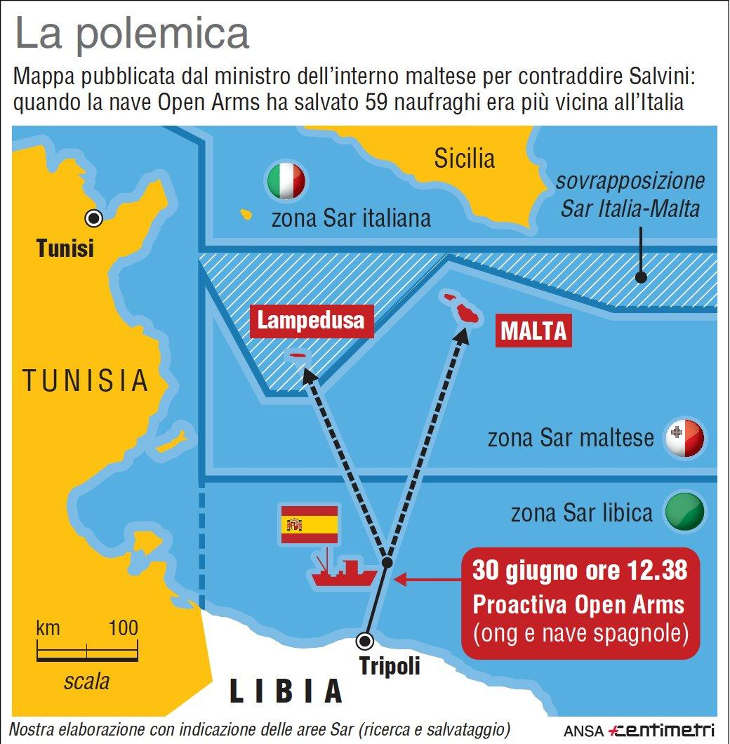 Open Arms, la mappa pubblicata da Malta