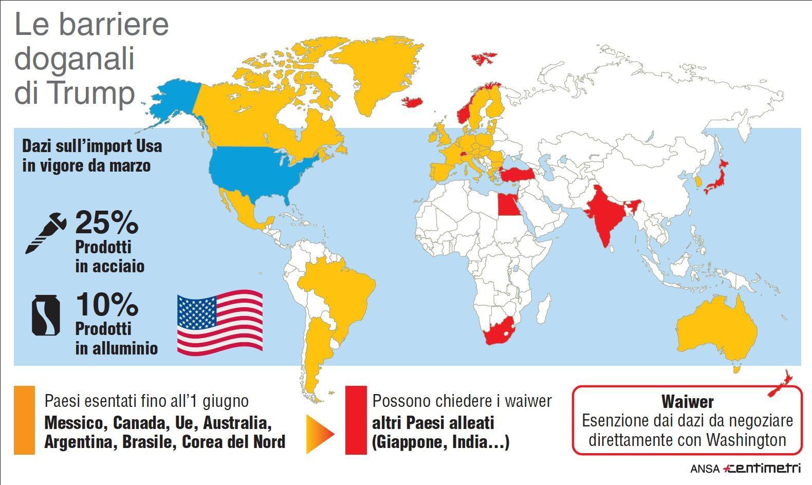 Dazi Usa, i Paesi colpiti dal provvedimento