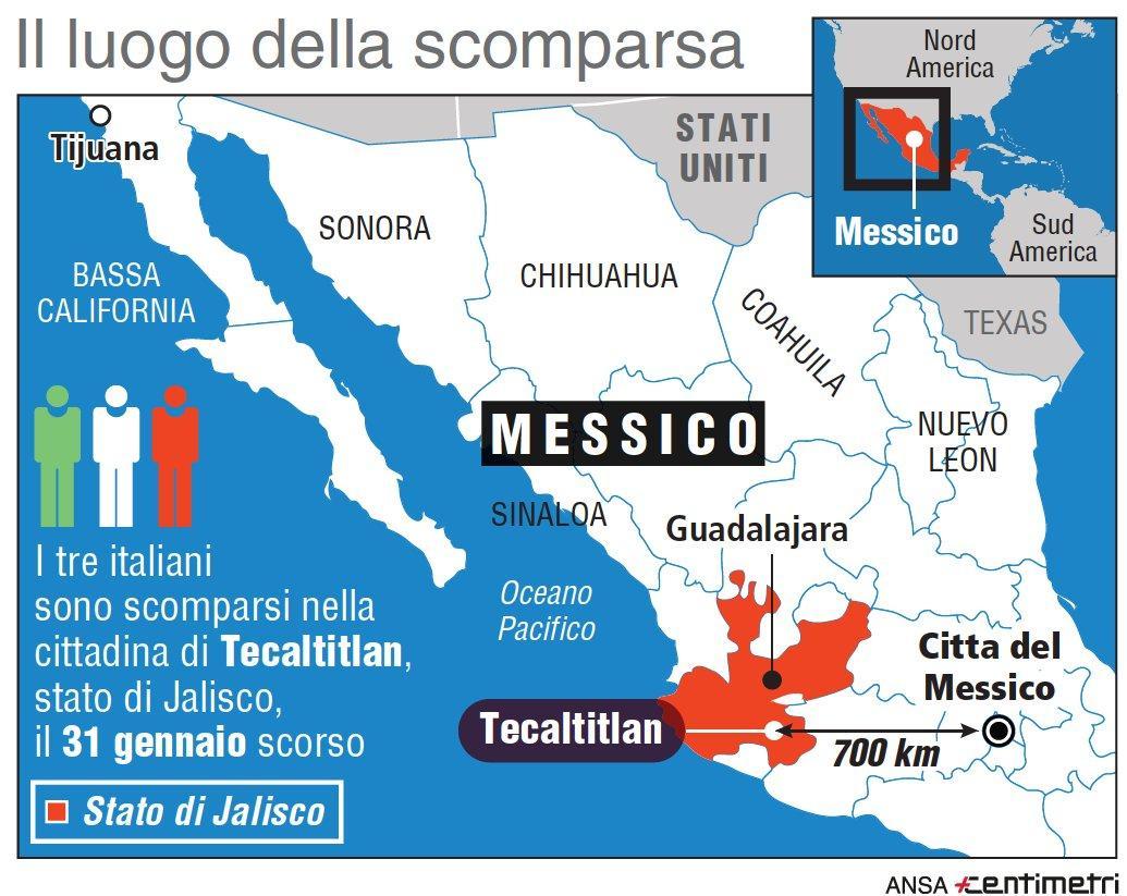 Messico, il luogo della scomparsa dei tre italiani
