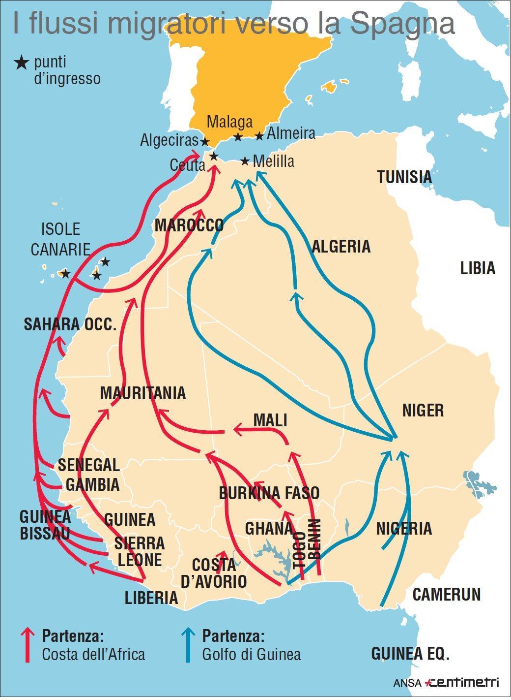 I flussi migratori dall Africa verso la Spagna