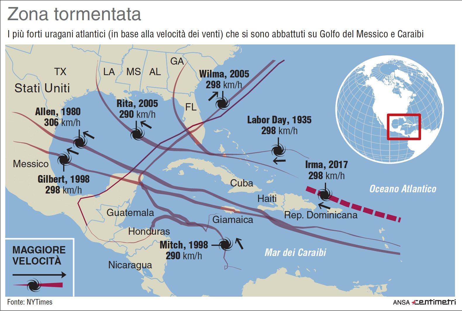 Il confronto tra Irma e i più forti uragani dei Caraibi