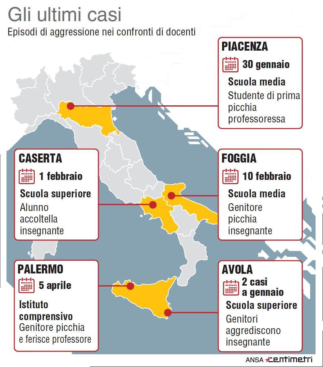 Docenti picchiati, gli ultimi casi in Italia