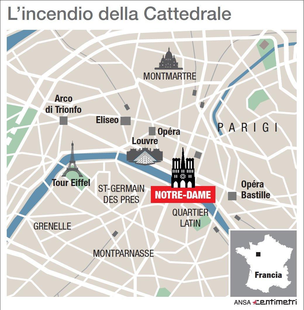 Incendio a Notre-Dame, la mappa