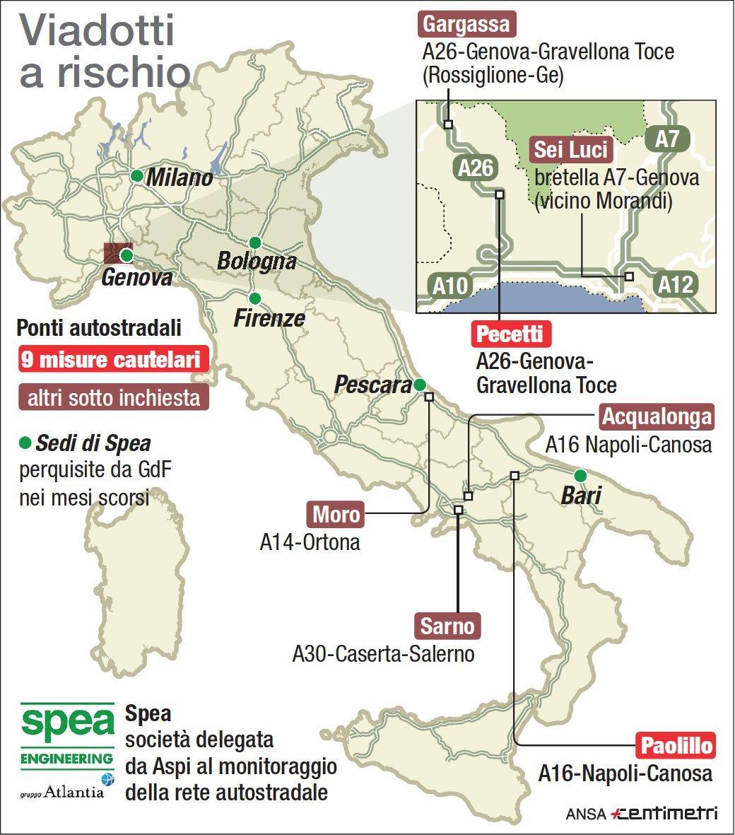 I viadotti a rischio in tutta Italia