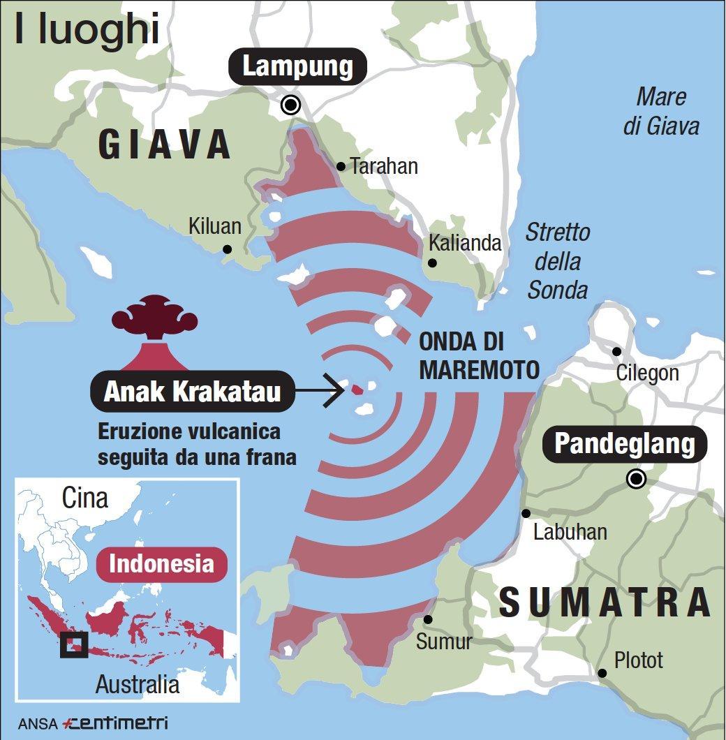 Tsunami in Indonesia, l esplosione del vulcano e i luoghi del maremoto