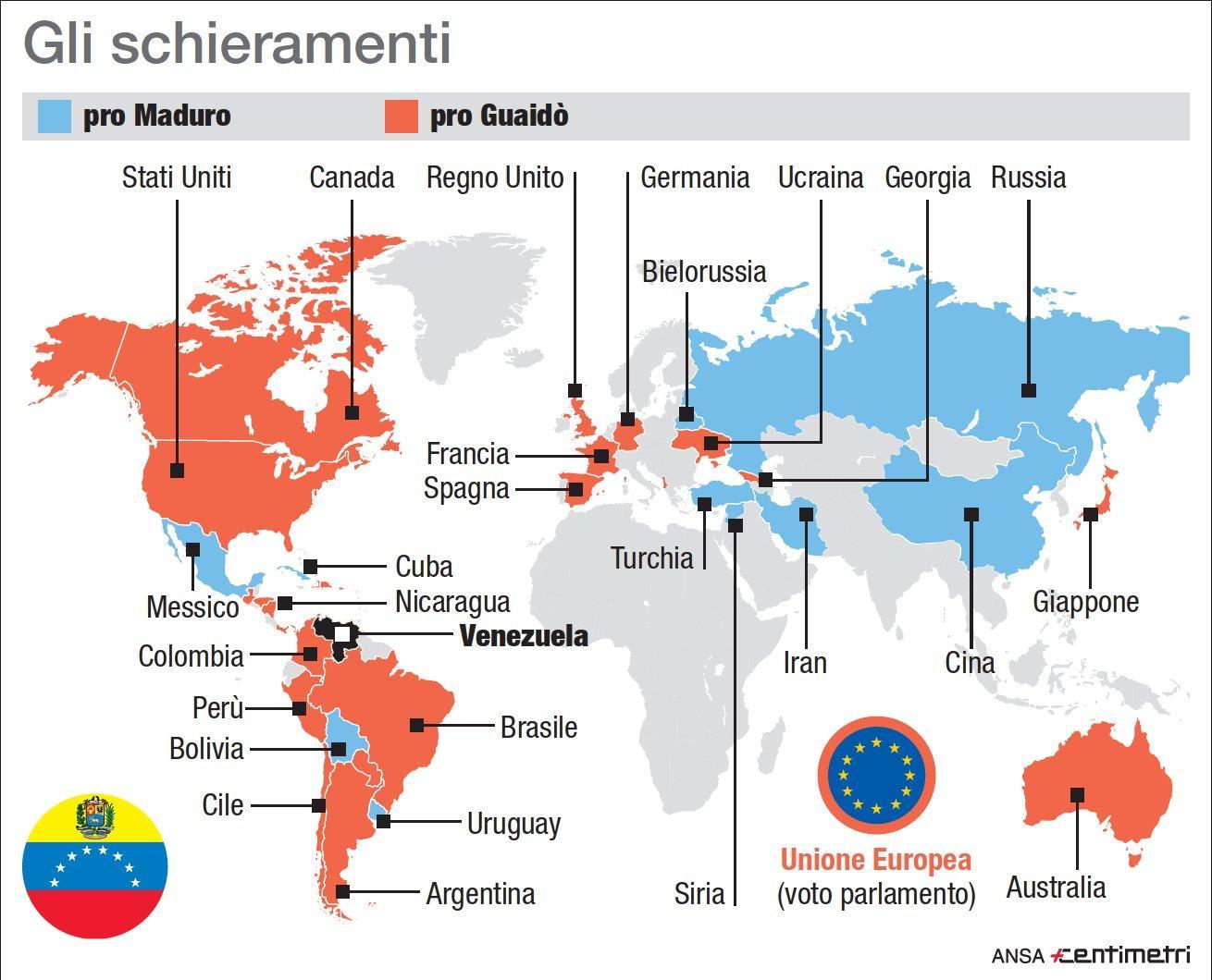 Venezuela, mappa dei governi pro e contro Maduro