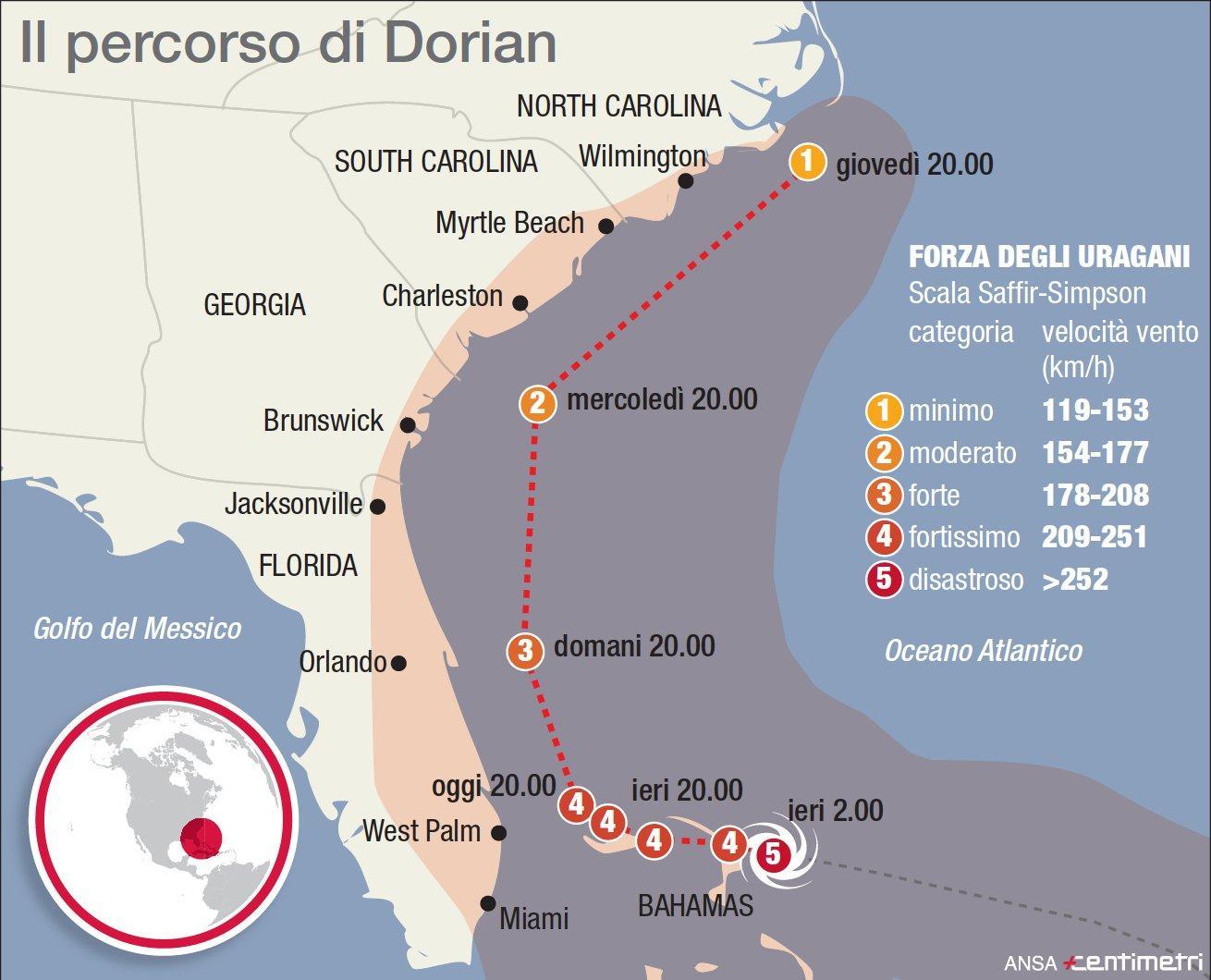 La marcia dell uragano Dorian