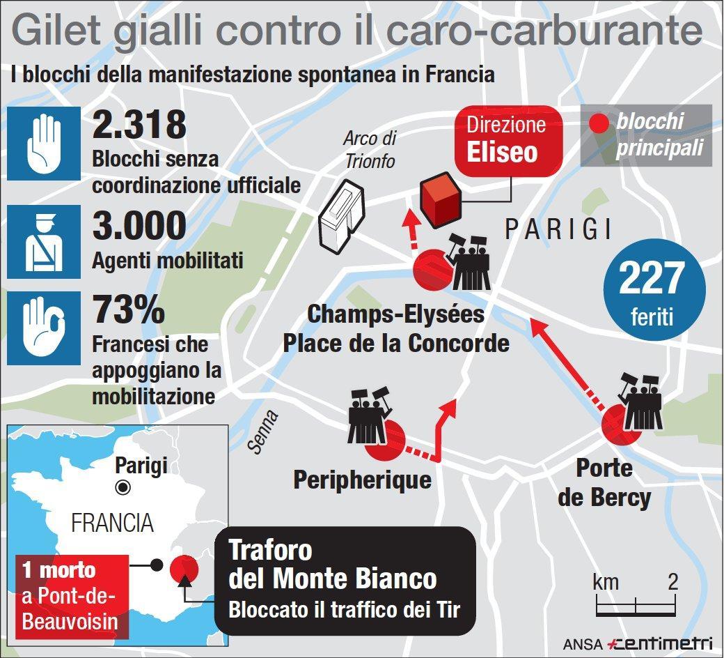 Francia, la protesta dei  gilet gialli : la mappa dei blocchi