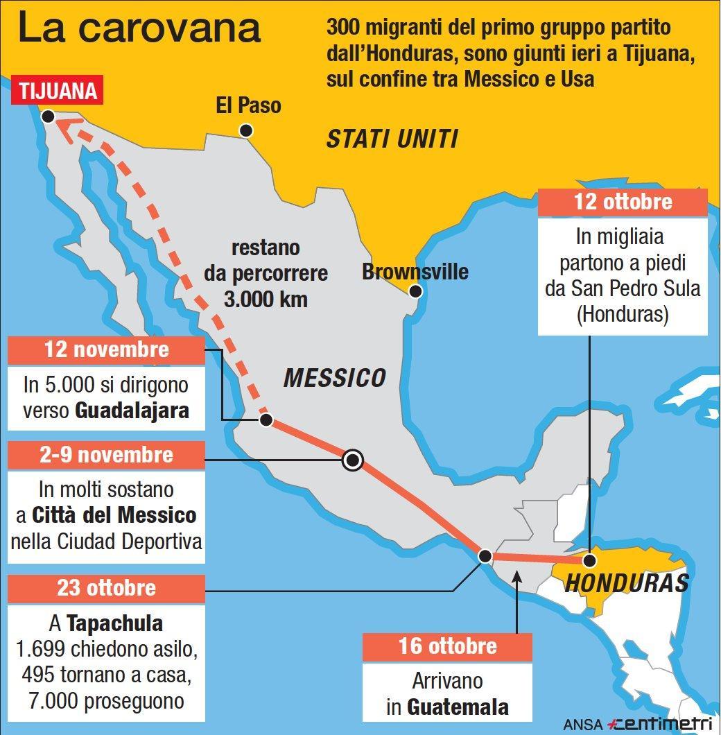 Migranti, il tragitto percorso dalla carovana di honduregni