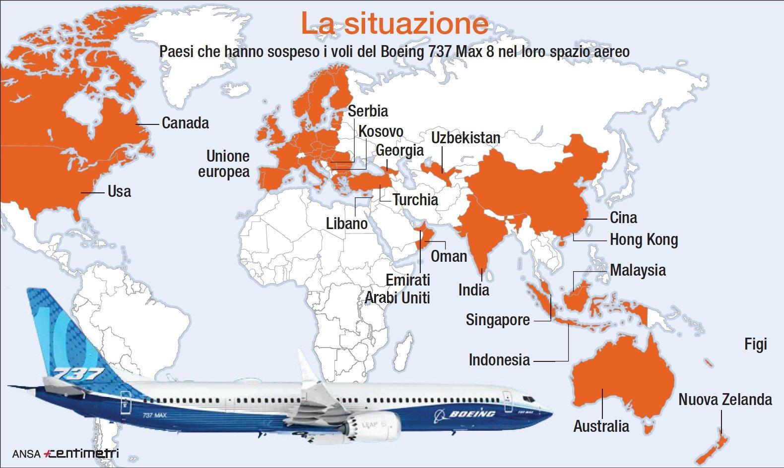 Tutti i paesi che hanno  bandito  il Boeing 737 Max 8